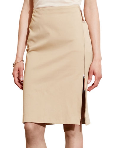 Lauren Ralph Lauren Zip-Front Stretch Cotton Skirt-NATURAL-14 88571489_NATURAL_14