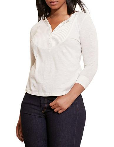 Lauren Ralph Lauren Plus Pintucked-Bib Jersey Henley-WHITE-2X 88558795_WHITE_2X