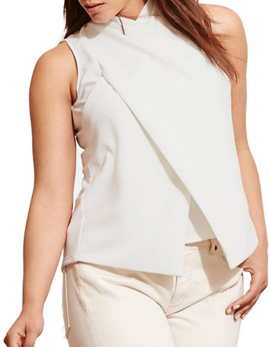Lauren Ralph Lauren Plus Jersey Surplice Top-WHITE-2X 88558803_WHITE_2X
