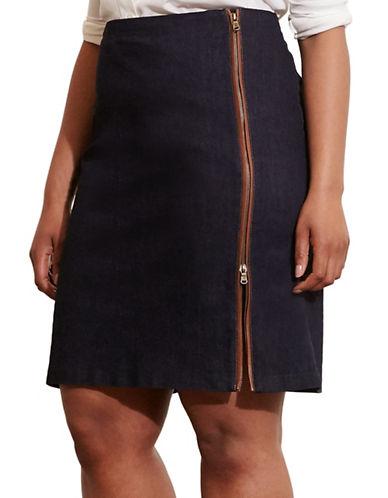 Lauren Ralph Lauren Plus Zip-Front Stretch Skirt-BLUE-20W 88558835_BLUE_20W