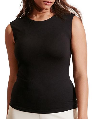 Lauren Ralph Lauren Plus Cutout-Back Jersey Tee-BLACK-2X 88558847_BLACK_2X