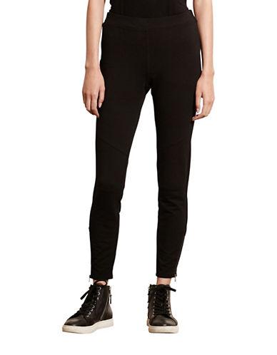 Lauren Ralph Lauren Paneled Stretch Cotton Leggings-BLACK-Large 88662658_BLACK_Large