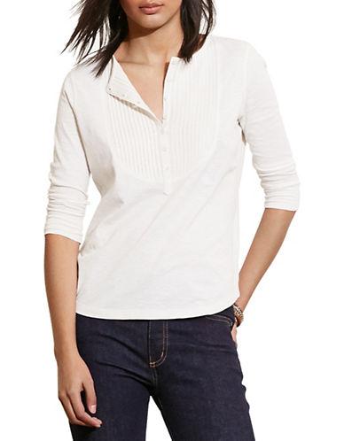 Lauren Ralph Lauren Pintucked-Bib Jersey Henley-WHITE-Large 88572641_WHITE_Large
