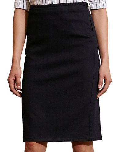 Lauren Ralph Lauren Stretch Cotton Pencil Skirt-BLUE-4 88572693_BLUE_4