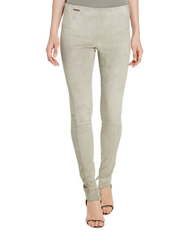 Polo Ralph Lauren Stretch Suede Skinny Pants-GREY-Large 88663543_GREY_Large