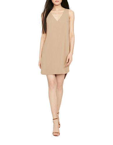 Polo Ralph Lauren Silk-Trim Sleeveless Dress-BEIGE-14