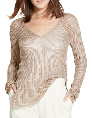Polo Ralph Lauren Open-Knit V-Neck Sweater-NATURAL-Large