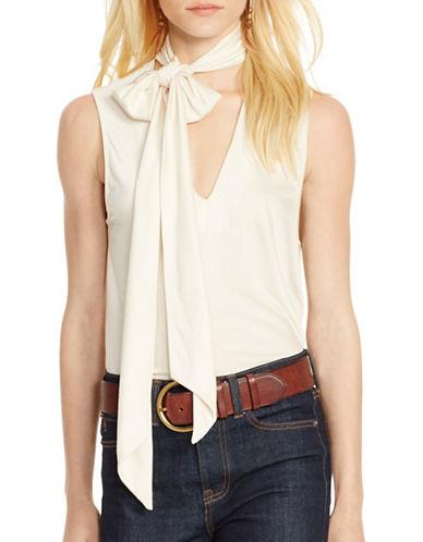 Polo Ralph Lauren Jersey Tie-Front Shirt-BEIGE-Large