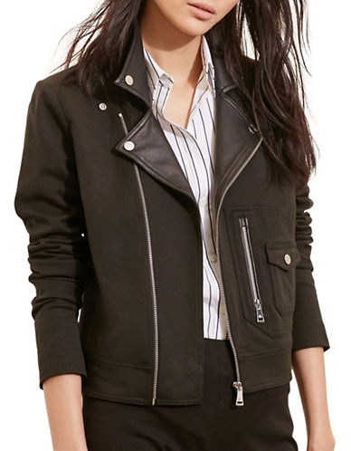Lauren Ralph Lauren Stretch Cotton Moto Jacket-BLACK-Medium 88571503_BLACK_Medium