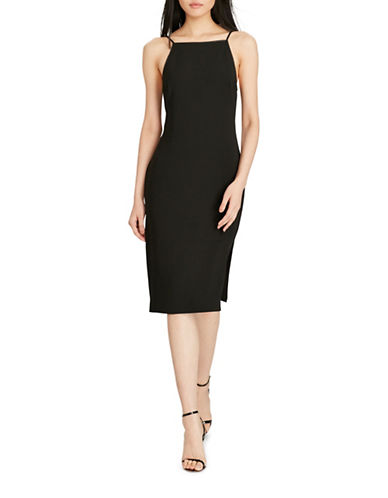 Polo Ralph Lauren Leather-Trim Sheath Dress-BLACK-12