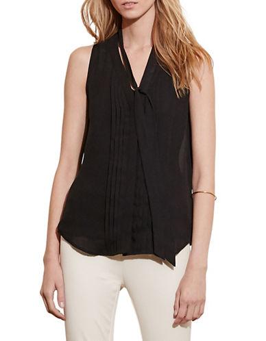 Lauren Ralph Lauren Pleated-Front Georgette Top-BLACK-Medium 88571348_BLACK_Medium