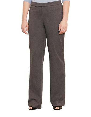 Lauren Ralph Lauren Plus Stretch Twill Flared Pants-GREY-16W 88667430_GREY_16W