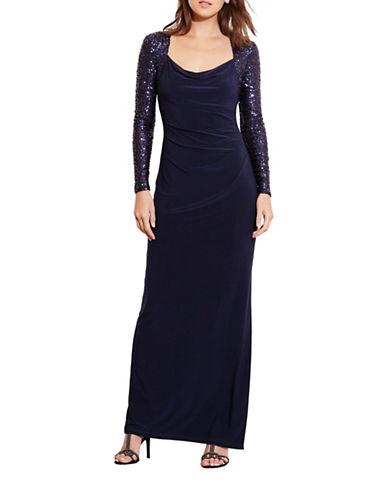 Lauren Ralph Lauren Sequined-Sleeve Column Gown-BLUE-6 88546448_BLUE_6