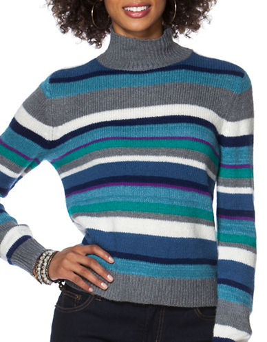 Chaps Petite Striped Turtle Neck Sweater-BLUE-Petite X-Large 88828170_BLUE_Petite X-Large