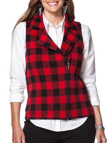Chaps Plus Buffalo Check Sweater Vest-BLACK-3X