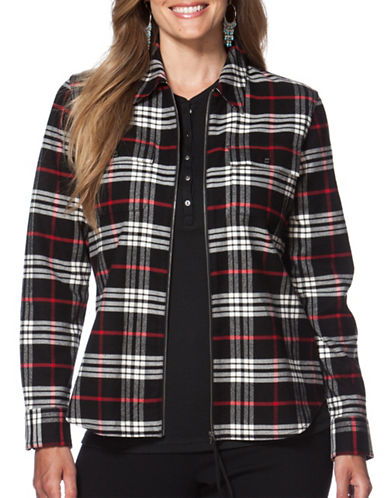 Chaps Plus Plaid Twill Full-Zip Work Shirt-BLACK-1X 88716334_BLACK_1X