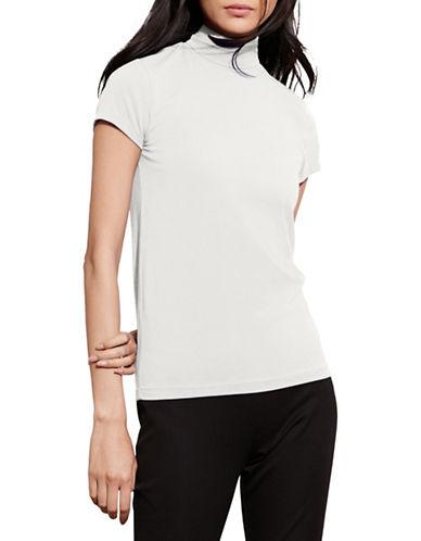 Lauren Ralph Lauren Jersey Short-Sleeve Turtleneck-WHITE-Medium 88660977_WHITE_Medium