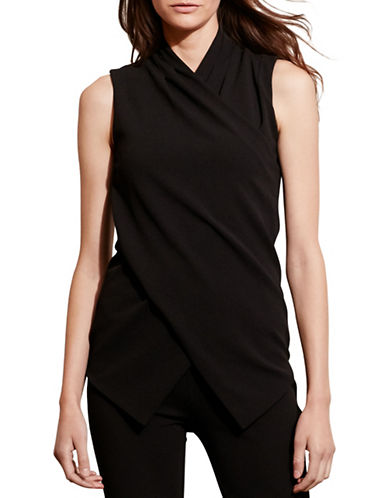 Lauren Ralph Lauren Jersey Surplice Top-BLACK-Medium 88661064_BLACK_Medium