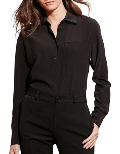 Lauren Ralph Lauren Silk Long-Sleeve Shirt-BLACK-Medium 88661092_BLACK_Medium