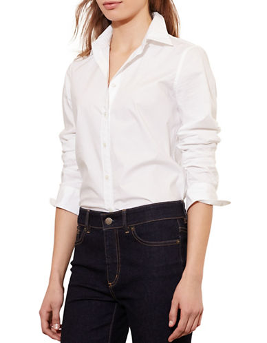Lauren Ralph Lauren Stretch Cotton Shirt-WHITE-X-Large 88571288_WHITE_X-Large
