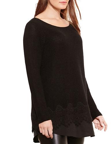 Lauren Ralph Lauren Layered Lace-Hem Sweater-BLACK-Medium 88661194_BLACK_Medium