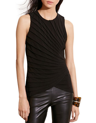 Lauren Ralph Lauren Pressed-Pleat Jersey Tank-BLACK-X-Small 88661411_BLACK_X-Small