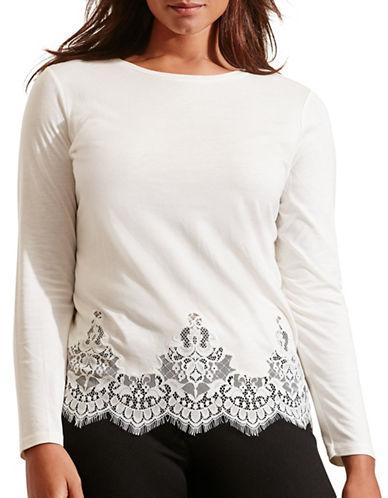 Lauren Ralph Lauren Plus Lace-Hem Jersey Tee-WHITE-1X 88575288_WHITE_1X
