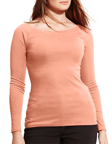 Lauren Ralph Lauren Plus Stretch Cotton Tee-PINK-2X 88575295_PINK_2X