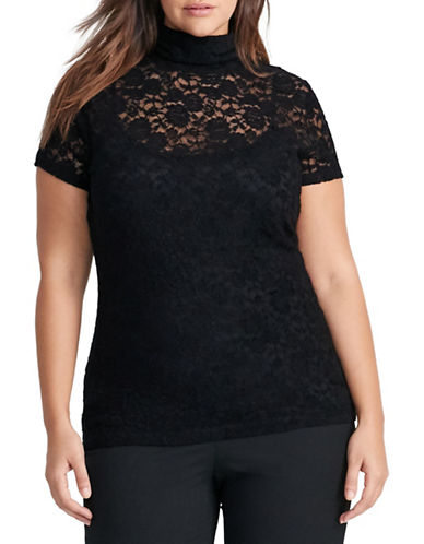 Lauren Ralph Lauren Plus Lace Mock Neck Top-BLACK-1X 88575345_BLACK_1X