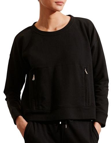 Lauren Ralph Lauren Zip-Pocket Crew Neck Sweatshirt-BLACK-Large 88662638_BLACK_Large