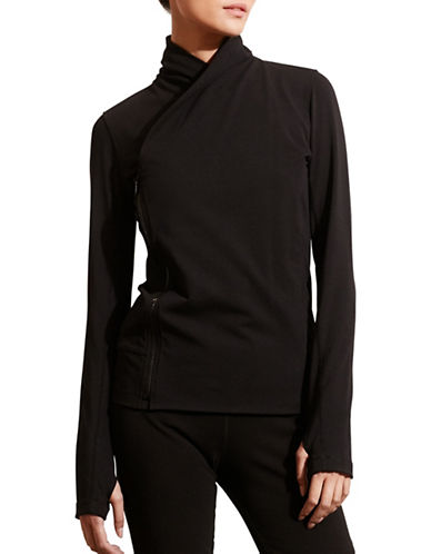 Lauren Ralph Lauren Asymmetrical-Zip Jersey Jacket-BLACK-Medium 88662649_BLACK_Medium