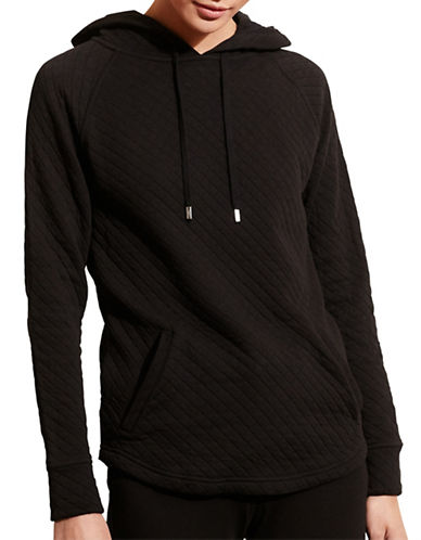 Lauren Ralph Lauren Quilted Stretch Cotton Hoodie-BLACK-Medium 88662654_BLACK_Medium