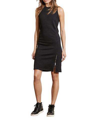 Lauren Ralph Lauren Paneled French Terry Sheath Dress-BLACK-Medium 88660244_BLACK_Medium