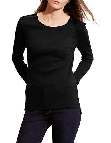 Lauren Ralph Lauren Zip-Shoulder Cotton Top-BLACK-Large 88660312_BLACK_Large