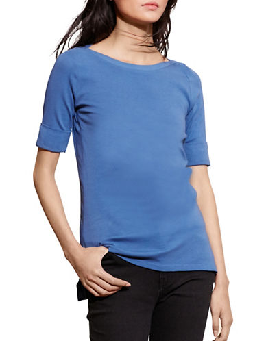 Lauren Ralph Lauren Stretch Cotton Boat-Neck Tee-SOFT SKY-Medium 88660952_SOFT SKY_Medium