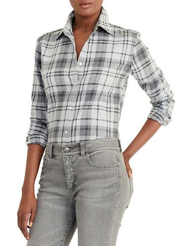 Lauren Ralph Lauren Plaid Cotton Twill Shirt-GREY-Medium 88661375_GREY_Medium