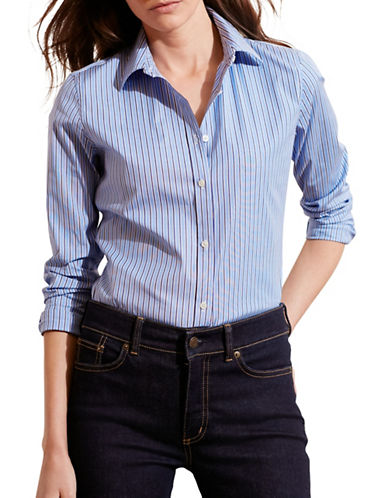 Lauren Ralph Lauren Striped Stretch Cotton Shirt-BLUE-Large 88661384_BLUE_Large