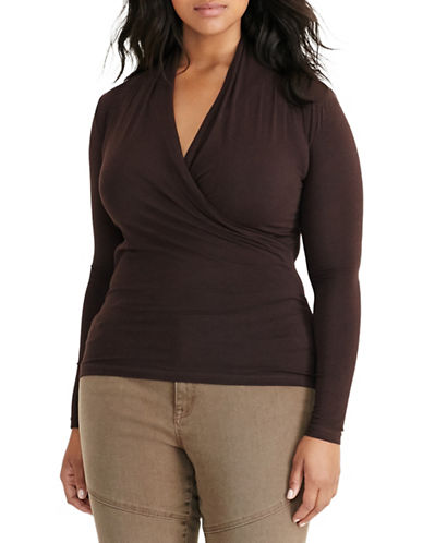Lauren Ralph Lauren Plus Jersey Surplice Top-CHOCOLATE-2X 88667367_CHOCOLATE_2X