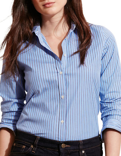 Lauren Ralph Lauren Plus Striped Stretch Cotton Shirt-BLUE-3X 88575409_BLUE_3X