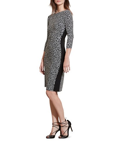 Lauren Ralph Lauren Geometric-Print Jersey Dress-BLACK-2