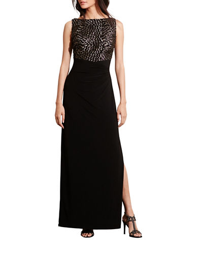 Lauren Ralph Lauren Sequined Bodice Gown-BLACK-10 88658254_BLACK_10