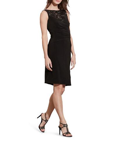 Lauren Ralph Lauren Sequined-Yoke Sheath Dress-BLACK-8 88650423_BLACK_8