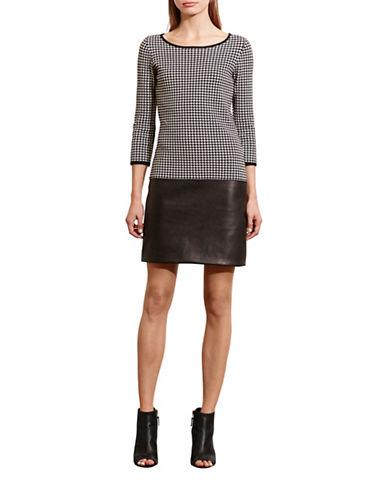Lauren Ralph Lauren Houndstooth Drop-Waist Dress-BLACK-X-Small 88650438_BLACK_X-Small