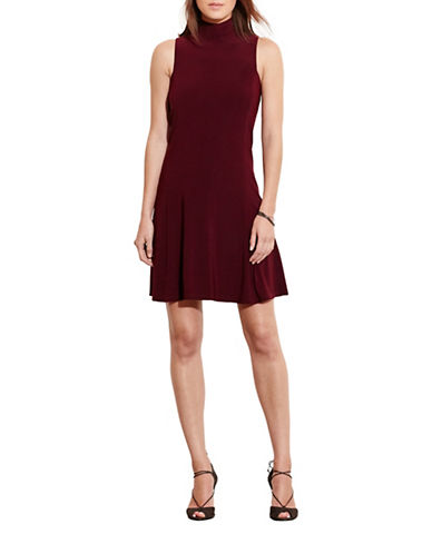 Lauren Ralph Lauren Jersey Mock-Neck Dress-CLARET-14 88567886_CLARET_14