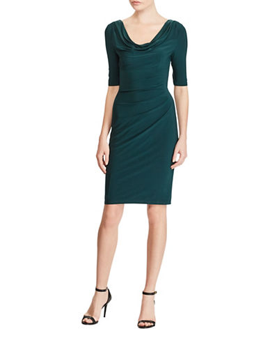 Lauren Ralph Lauren Cowl Neck Jersey Dress-WOOD GREEN-2