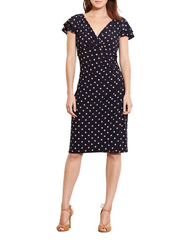 Lauren Ralph Lauren Polka-Dot Sheath Dress-MULTI-14