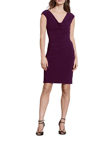 Lauren Ralph Lauren Cowl Neck Jersey Sheath Dress-RAISIN-14