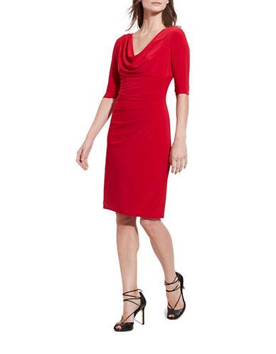 Lauren Ralph Lauren Cowl Neck Jersey Dress-RED-6