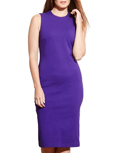 Lauren Ralph Lauren Plus Jersey Sheath Dress-PURPLE-2X 88575309_PURPLE_2X