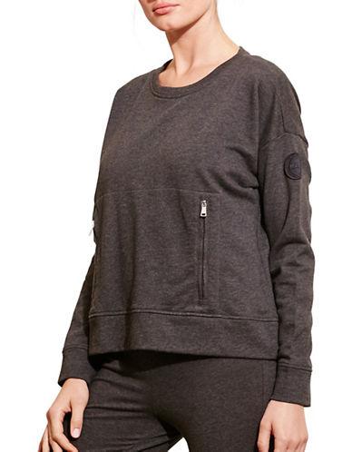 Lauren Ralph Lauren Zip-Pocket Crew Neck Sweatshirt-GREY-X-Large 88741534_GREY_X-Large